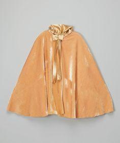 Gold Crushed Velvet Cape - Girls