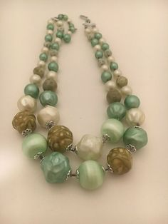 Wood Necklace Graduated Chunky Large Bead Multifaceted Necklace Jewelry Set