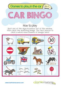 Keeping Kids Entertained in the Car : Travel Printables for Kids - In The Playroom - Games to play in car. Free travel printables for kids and families, ideal for road trips or summer - Car Games For Kids, Bingo For Kids, Christmas Games For Kids, Kid Games, Free Games, Travel Bingo, Car Travel, Free Travel, Road Trip Bingo