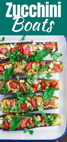 BEST stuffed zucchini boats recipe in less than 20 minutes! Tender grilled zucchini loaded with Mediterranean favorites like tomato, feta, and fresh herbs. Bright, healthy, and a great low carb appetizer or side! Zucchini Boat Recipes, Zucchini Boats, Grilled Zucchini, Stuffed Zucchini, Healthy Zucchini, Healthy Crockpot Recipes, Healthy Eating Recipes, Keto Recipes, Healthy Smoothies