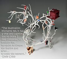 """This week's #ArtQuote is by Emily Cobb, an adjunct instructor in the Metals/Jewelry/CAD-CAM and Visual Studies area at Tyler School of Art.  She draws inspiration for her illustrative jewelry from """"The Mysteries of Harris Burdick, a 1984 picture book by Chris Van Allsburg, full of images accompanied by single lines of text.  View more of Cobb's work on her Artist Portfolio."""
