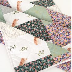 Hedgehog +Happy Days- Modern Baby Quilt-Baby Quilt for Sale-Floral -Hedgehogs-Indie Quilt-Baby Girl Quilt-Boho Handmade Baby Quilt by WildLittles on Etsy