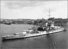 HMS Warspite, Valletta, Malta, 1938.