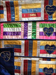 Horse Show Ribbon Quilts Ribbon Quilt, Ribbon Art, Horse Crafts Kids, Crafts For Kids, Show Ribbon Display, Horse Show Ribbons, Dog Crate Cover, Project Ideas, Craft Ideas