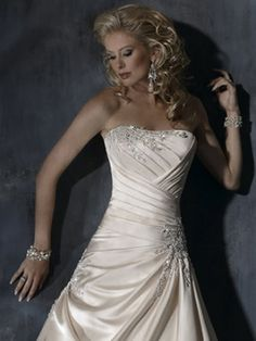 Princess Strapless Appliques Beading Satin Court Train Wedding Dress at Millybridal.com