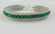 emerald beadwork tennis bracelet by beadnurse on Etsy, $60.00