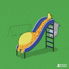 Giraffe cartoon illustration How I feel most days Giraffe Drawing, Giraffe Art, Cartoon Pics, Cute Cartoon, Funny Cartoons, Funny Comics, Funny Illustration, Illustrations, Funny Doodles