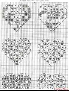 Вышитые сердечки + схемы+ MK Cross Stitch Embroidery, Hand Embroidery, Cross Stitch Patterns, Cross Stitch Heart, Valentines Day Decorations, Filet Crochet, Blackwork, Heart Shapes, Needlework
