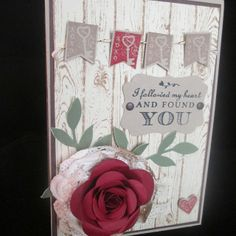 Love the wood stamp from Stampin UP and the rose die, and the bunting... love it all