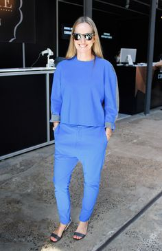 Nicole Bonython-Hines, Fashion Editor of Madison - Ray Ban sunglasses, Bassike top, Bassike pants, Pierre Hardy shoes.