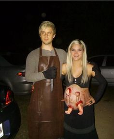 Cute couples costumes for halloween & 15 diy halloween costume ideas Pregnant Couple Halloween Costumes, Scary Couples Costumes, Pregnant Halloween Costumes, Pregnancy Costumes, Best Halloween Costumes Ever, Couple Costumes, Halloween Makeup, Halloween Ideas, Halloween 2014
