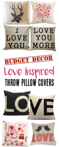 18 Throw Pillow Covers on Sale that are Love inspired!  Such a budget friendly way to update your decor for Valentine's Day or any time of year!   TheFrugalGirls.com