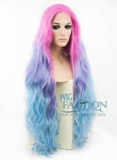 """30"""" Long Curly Megenta Purple Blue Mixed Lace Front Synthetic Wig LF80"""