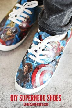 Do-It-Yourself Superhero Shoes with Mod Podge. Ooh making doctor who ones for myself.