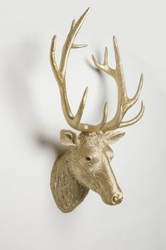 Interior Illusions Deer Head Taxidermy (Gold Version). Wow!! This gold colored realistic looking head is animal friendly and hangs easily from the key hole in back of the head. Make your room stand out with this must have decor item! Large scale peice of art for your walls. Gold Finish.