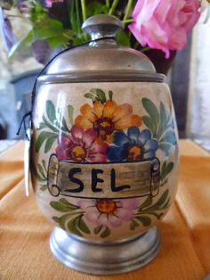 Salt Pot French Vintage Faience Pewter hand by FrenchEmporium, £24.95