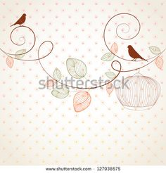 Hand-drawing vintage floral background with flower buds and bird. Element for design. Vector illustration.