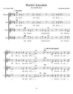Rockin' Jerusalem for SATB Choir: This fresh a cappella arrangement of this traditional spiritual will have your choir AND your congregation or audience tapping their toes and clapping their hands. Palm Sunday, Digital Sheet Music, Black History Month, Jerusalem, Choir, Singing, Encouragement, Spirituality, Hands