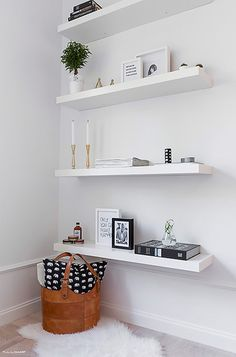 A chic 42 spm apartment in Sweden   My Paradissi Ikea Lack Shelves, Lack Shelf, Floating Shelves Bedroom, White Floating Shelves, Diy Wall Shelves, Bedroom Shelves, Ikea White Shelves, Corner Shelves, Floating Shelf With Drawer
