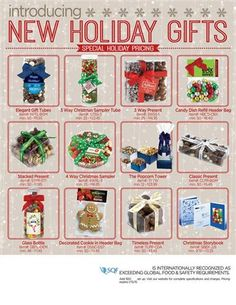 #Holiday gift giving made easy! Treat your clients, employees or a holiday gathering of people you care about with a sweet gift of delicious snacks. Add your company/business logo or message for maximum exposure of advertising what you want others to see. #Edible #Holiday #Gifts ***#Promotional #Advertising