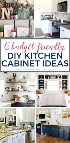 6 Budget-Friendly DIY Kitchen Cabinet Decor Ideas Update Kitchen Cabinets, Kitchen Buffet, Diy Kitchen Decor, Diy Cabinets, Painting Kitchen Cabinets, Kitchen On A Budget, Country Kitchen, Kitchen Planning, Kitchen Updates