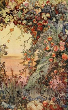 """Wild Apples… 'The Fruits of the Earth' watercolor by Edward J. Detmold Published in 'The International Studio' magazine vol. XLII From the Article """"A Note on Mr. Edward J. Detmold's Drawings and Etchings of Animal Life"""" Illustration Blume, Antique Illustration, Alphonse Mucha, Inspiration Art, Fine Art, Oeuvre D'art, Vintage Flowers, Floral Flowers, Pop Art"""