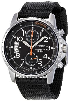 Seiko Chronograph Stainless Steel Cloth Strap Mens Watch SNN079P2