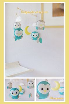 Baby Crib Mobile - Nursery Mobile - Barn Owl Mobile - Modern Felt Mobile - Aqua Blue Barn Owls in a starry night (Custom color available)