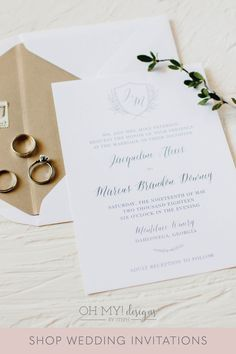 Monogram Wedding Invitations for a Classic Vineyard Wedding