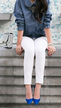 Chambray + White Skinny Jeans w/ Electric Blue Flats ♡