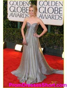 ca0af28d7ed Dianna Agron A-line Sweetheart Court Trains Sleeveless Organza Satin Golden  Globe Evening Dress Grey. Grey GownGray ...