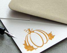 Pumpkin Oak Leaf Autumn Orange Letterpress Note Card Set