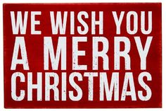 We Wish You A Merry Christmas - White Letters on Red - Mailable Wooden Christmas Greeting Card