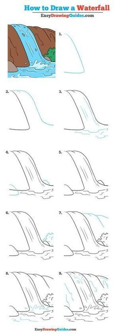 How to Draw a Waterfall – Really Easy Drawing Tutorial Learn How to Draw a Waterfall: Easy Step-by-Step Drawing Tutorial for Kids and Beginners. See the full tutorial at Easy Drawing Tutorial, Landscape Drawing Tutorial, Landscape Drawings, Landscape Drawing For Kids, Landscape Paintings, Landscape Art, Cute Easy Drawings, Art Drawings For Kids, Doodle Drawings