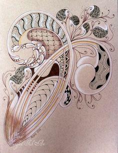 Mooka and Betweed ~ tangle in tangle ~ #ZIA #Zentangle ~
