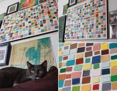 Aunt Peaches: Paint Chip Art: Cut paint chips into squares, mount on canvas with mounting tape, glue ribbon around edges.