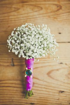 baby's breath bouquet | Sarah Kathleen | Glamour & Grace {I like the pink ribbon wrap}