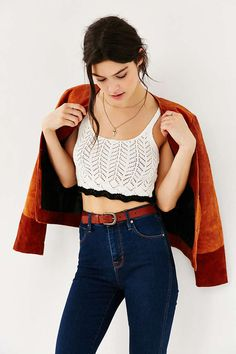 Kimchi Blue Pointelle Cropped Tank Top - Urban Outfitters