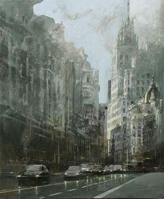 ArtCatto  Artist : Cristina Bergoglio  Title : After the Rain in Gran Via  Media : Original - Mixed Media on Canvas  Size : 110 x 90cm