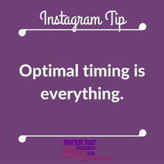 Instagram Tip: Optimal timing is everything. Timing is everything. Post at the right time when your followers s are there. You can use Squarelovin.com to see when your followers are on Instagram.    Want to learn more about building your business using Instagram? Or want to work closely with me? Click the link in my bio @RobinSmith2007 and join my community!  #marketyourbusinessblog