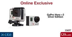 Online exclusive: GoPro Hero 3+ Silver Edition available for 129KD  http://www.xcite.com/photography/camcorders/high-definition-camcorders/gopro-hero-3-silver-edition.html