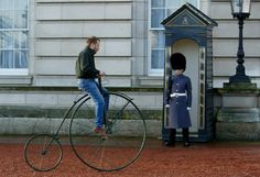 A Penny Farthing bicycle arrives at Buckingham Palace in London, The bicycle will be included in a showcase at the palace of iconic British designs as part of a series of themed days hosted by Britain's Queen Elizabeth and the Duke of Edinburgh