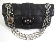 LANVIN Black Veau Leather Chain Strap Jeanne Shoulder Handbag at www.ShopLindasStuff.com