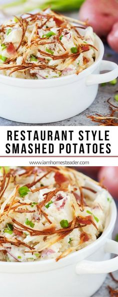 RESTAURANT STYLE SMASHED POTATOES - The bacon and sour cream offers extra indulgence and the shoestring fries offer a delicious crunch. Simple and yummy meal you can make at home for your family! Check us out for more healthy homemade cook Side Salad Recipes, Side Dish Recipes, Easy Dinner Recipes, Great Recipes, Easy Meals, Favorite Recipes, Dishes Recipes, Drink Recipes, Healthy Meals