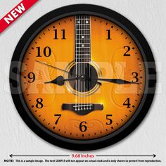 A unique acoustic guitar decorative wall clock. A great addition to any home, studio or office. Also makes a great gift idea for any musician or Music Clock, Music Wall, Best Acoustic Guitar, Acoustic Guitars, Clock Shop, Musician Gifts, Boys Bedroom Decor, Studio Room, Diys