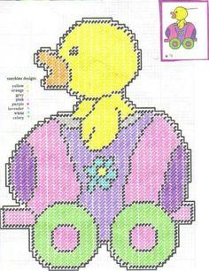 Easter Train Plastic Canvas Ornaments, Plastic Canvas Crafts, Plastic Canvas Patterns, Bunny Crafts, Easter Crafts, Easter Story, Easter Crochet, Cross Stitch Baby, Canvas Designs