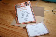 Wedding Invitation: Orange and Camo with deer heart logo, RSVP card and mailing envelope - available from AJ's Craft Creations. https://www.facebook.com/ajs.craft.creations