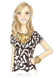 A custom fashion illustration of talented designer Audra of Audra's Details!