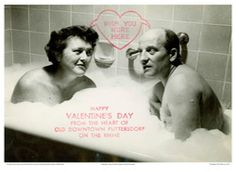 """VALENTINE'S DAY CARD CREATED AND SENT BY PAUL AND JULIA CHILD DEPICTING THE CHILDS IN A BUBBLE BATH, c. 1952,"""" photograph by Paul Child, circa 1952. From the Avis MacVicar De Voto Papers, Collection of the Schlesinger Library on the History of Women in America, Radcliffe Institute, Harvard University. Copyright: Julia Child Foundation for Gastronomy and the Culinary Arts."""
