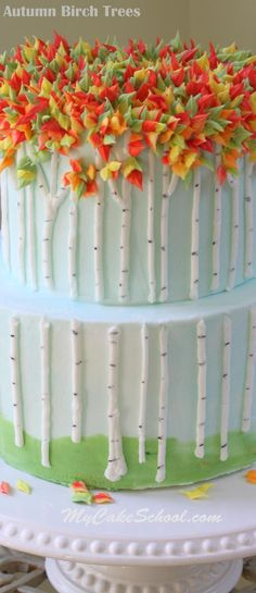 Beautiful Buttercream Birch Trees! An Autumn Cake Tutorial by MyCakeSchool.com!